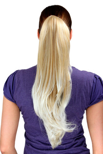 Ponytail/Extension BLOND MIX 24BT613 platinum ends straight long 50 cm Butterfly Clamp/Claw Grip