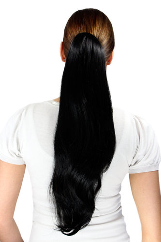 Ponytail/Extension BLACK (1B) straight long 50 cm on Butterfly CLAMP/Claw Grip