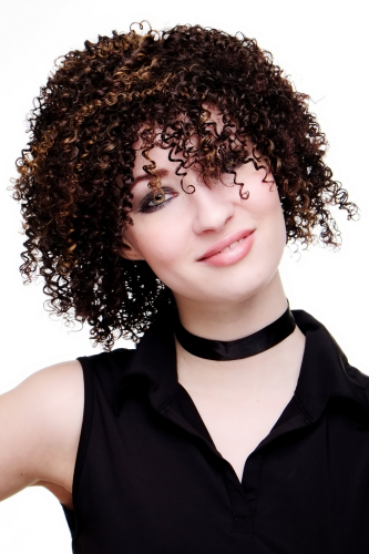 QUALITY Afro/Caribbean LADY WIG kinky CURLS brown/brunette with strands (2291- 2T33-27)