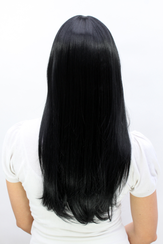 Lady Wig TEMPTRESS stunning LONG raven BLACK as SIN straight Fringe 50 cm  Mistress Roleplay Cosplay