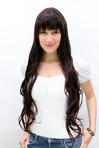 VERY LONG Lady Wig Fashion Wig SEXY FRINGE natural looking slight wave mixed BROWN brunette 80 cm