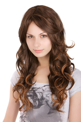 GORGEOUS Lady Fashion Quality Wig MIXED BROWN strands streaked brunette WAVY long 50 cm Peluca