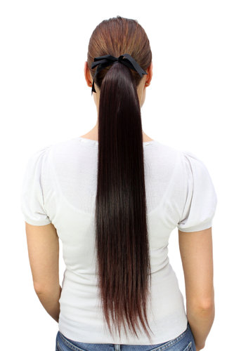 Hairpiece PONYTAIL (comb & ribbon wrap-around system) extension pigtail very long mahogany