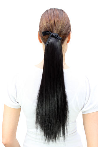 Hairpiece PONYTAIL (comb & ribbon wrap-around system) hair extension pigtail long straight black
