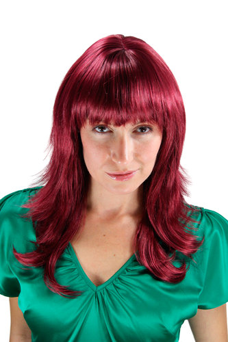 VERY CHIC Lady Quality Wig reddish aubergine eggplant RED fringe LAYERED cut 50 cm Peluca Parrucca