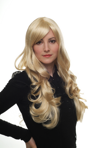 STUNNING Lady Fashion Quality Wig GREAT VOLUME layered slight curls BRIGHT BLOND blonde