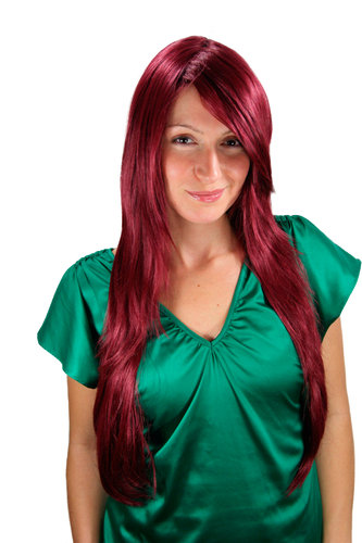 Long Lady Fashion Quality Wig RED aubergine eggplant 3110-39 Side Parting straight 70 cm Peluca