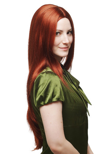 EXTREMELY LONG Lady Fashion Wig straight MIDDLE PARTING ruby RED 75 cm sexy 70s Look Peluca Prui