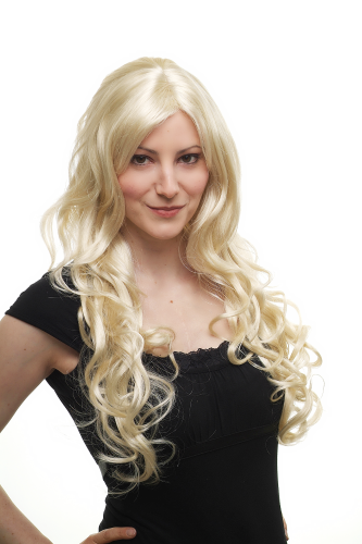 STUNNING Lady Fashion Quality Wig PLATINUM BLOND bright blonde wavy slightly curly very long 70 cm