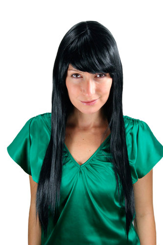 VERY LONG Lady Wig Fashion Wig layered cut FRINGE straight raven gothic BLACK 70 cm Peluca Pruik