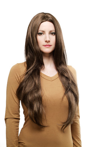 EXTREMELY LONG Lady Fashion Wig straight MIDDLE PARTING medium BROWN BRUNETTE 70s Look Peluca Pruik