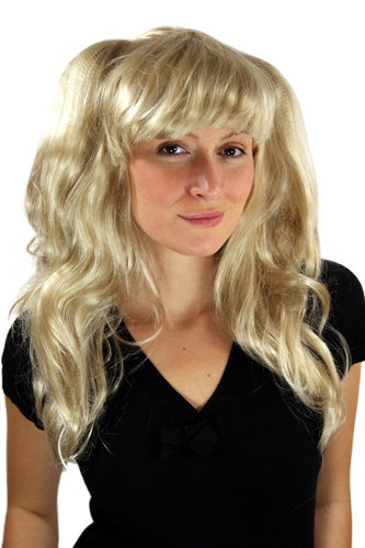 Party/Fancy Dress Lady WIG long voluminous wavy FRINGE BLOND beautiful long pigtails Gothic Lolita