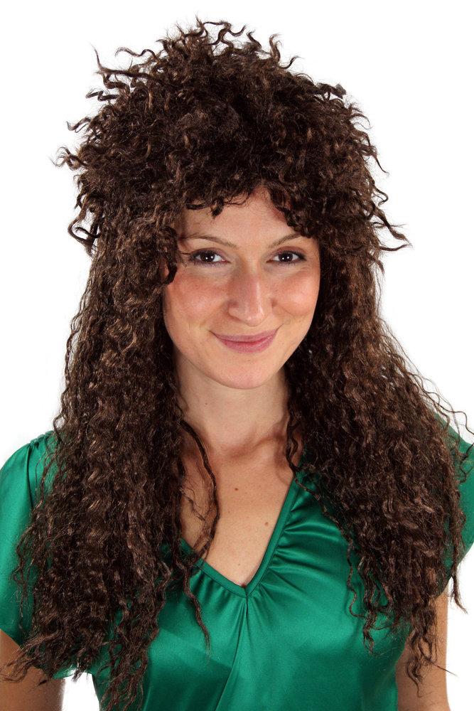 Party Fancy Dress WIG Men Women Unisex BROWN long curly MULLET Heavy Hair  Metal Glam Rock dddb06012