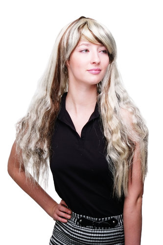 Party/Fancy Dress/Halloween Lady WIG verylong light BRUNETTE BROWN DARK BLOND MIX sexy FRINGE