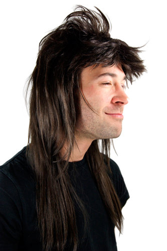 Party/Fancy Dress/Halloween WIG Men Women Unisex dark BROWN long MULLET Heavy Metal 20781-4