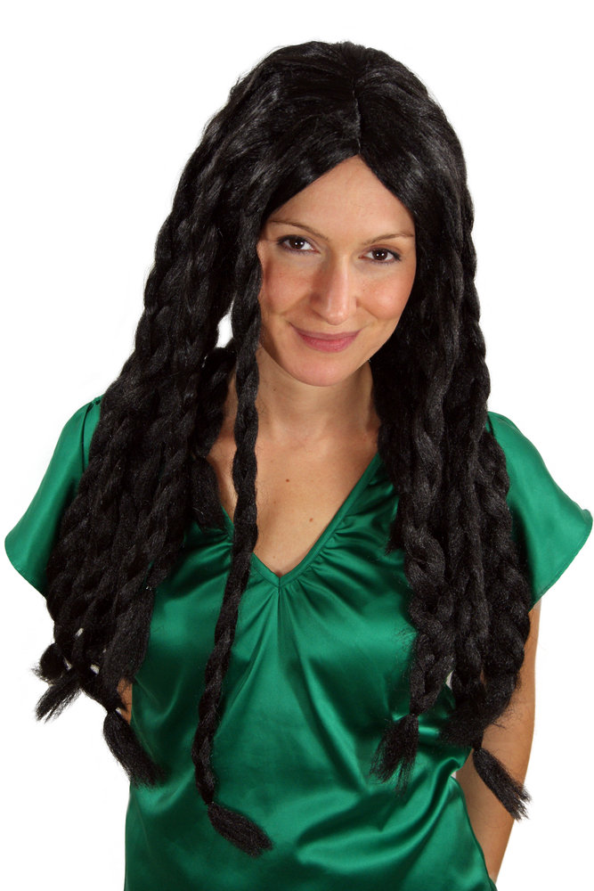 Beatnik Long Black fancy Dress Wig Middle Parting