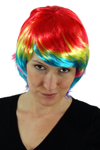 Party/Fancy Dress/Halloween Lady WIG short Bob BIRD OF PARADISE riot of colours disco Techno PW0047