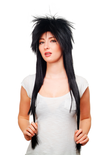 HAIR METAL stunning 80ies Style Quality WIG mullet BLACK very long 80 cm gothic punk glam rock