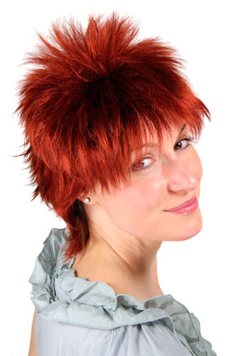 SHORT Lady Wig spiny WILD styled Hair 80s Eighties ruby RED 26155-131