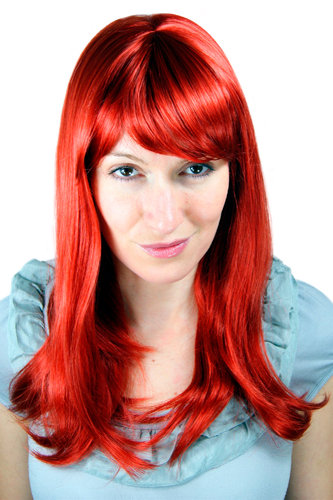 Sexy fashionable Lady Wig STRAIGHT ruby RED /w FRINGE 6310-137 50 cm LONG Cosplay Roleplay Femdom