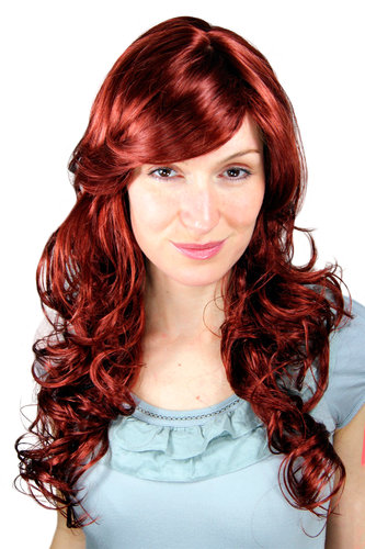 Long Lady Fashion Quality Wig RED slight curl 9329-35 65 cm Peluca
