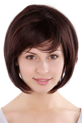 Lady Fashion Quality voluminous BOB Page Wig Short mixed BROWN brunette 49023-2T33 Parrucca Peluca