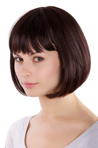Lady Fashion Quality BOB Page Wig Short mixed BROWN brunette MA017-2T33 Peluca