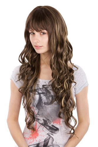 Long Lady Fashion Quality Wig BROWN with strands/streaks of Blond 3259-8H124 55 cm Peluca