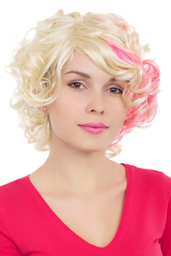 Perücke, Locken, blond, pink, GFW961-613TF2315