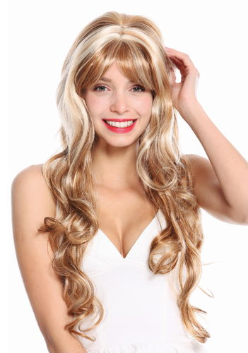 STUNNING Lady Fashion Quality Wig MIXED BLOND strands streaks CUTE FRINGE wavy slightly curly
