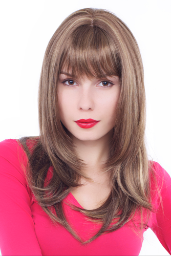 Lady Wig TEMPTRESS stunning LONG sinful sexy BRUNETTE BROWN with BLOND strands NAUGHTY Fringe