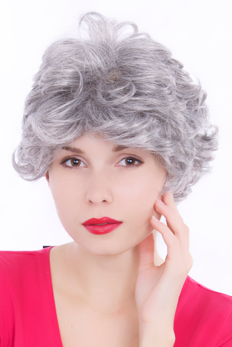 ELEGANT Lady WIG elderly Dame grey curl Granny GOLDEN YEARS GFW513-51
