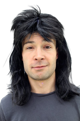 Party/Fancy Dress/Halloween WIG Men Women Unisex BLACK long MULLET Heavy Metal 20781-P103