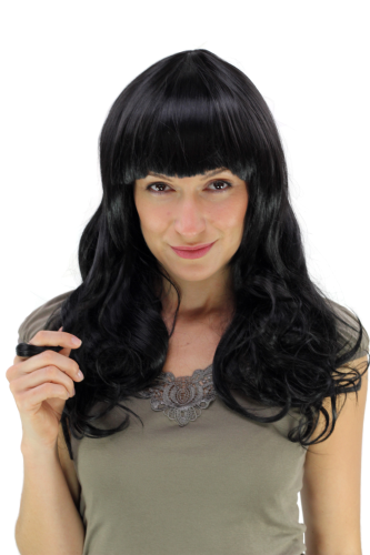 WIG ME UP ® YZF-7080L-1B Lady Cosplay Quality Wig long black curled great volume bangs