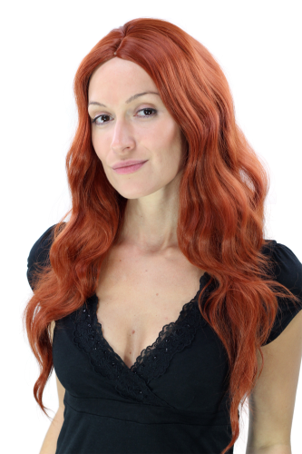 Sexy VAMP fashionable Lady Wig fire ruby RED wayy voluminous MIDDLE PARTING LONG Hollywood Diva