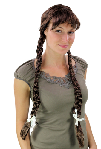 Party/Fancy Dress Lady WIG fringe BROWN 2 long BRAIDS Plaids pigtails Heidi OKTOBERFEST German Maid