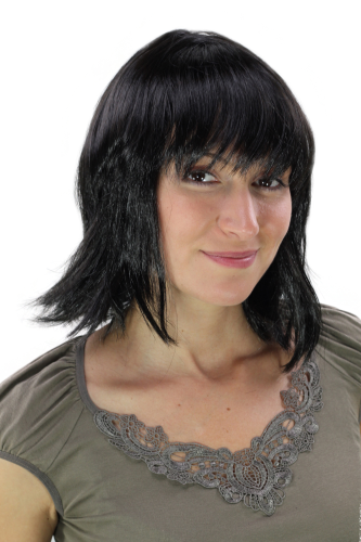 Party/Fancy Dress Lady WIG short SEXY long strands framing face FRINGE seductive BLACK Vamp