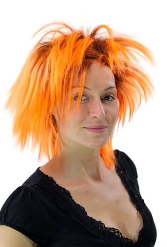 Party/Fancy Dress Lady WIG wild retro 80ies BLACK & ORANGE mixed spiny strands streaked Drag Queen