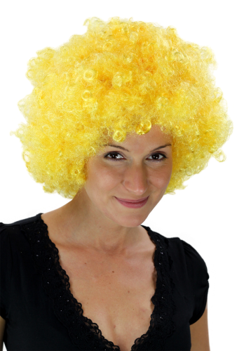 Party/Fancy Dress/Halloween WIG gigantic super volume NEON YELLOW disco AFRO funky huge HAIR!