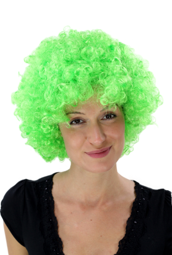 Party/Fancy Dress/Halloween WIG gigantic super volume futuristic NEON GREEN disco AFRO funky HAIR!