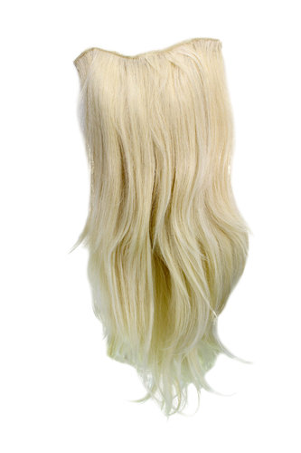 Hairpiece Halfwig 7 Microclip Clip In Extension VERY long straight slight wave wavy BRIGHT BLOND