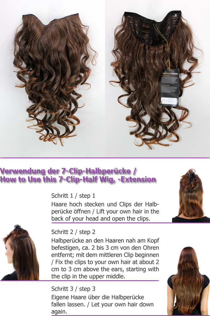 Hairpiece Halfwig 7 Microclip Clip In Extension Long Beautiful Curls
