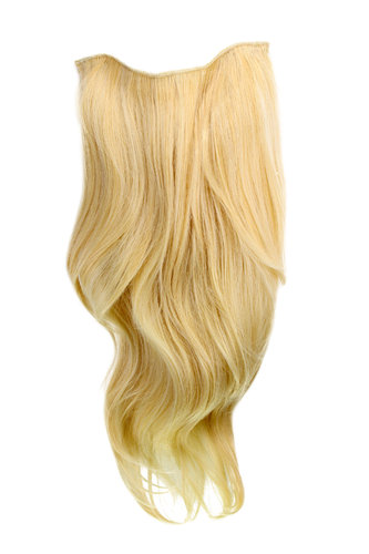 Hairpiece Halfwig 7 Microclip Clip In Extension long straight slight wave wavy BRIGHT BLOND gold