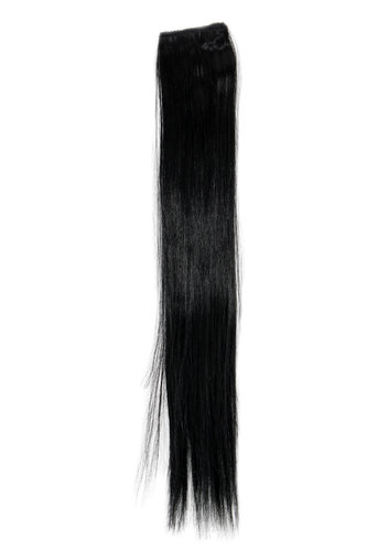 1 x Two Clip Clip-In extension strand highlight straight 3,5 inch wide, 18 inches long deep black