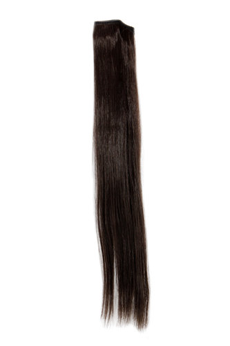 1 x Two Clip Clip-In extension strand straight 3,5 inch wide, 18 inches long dark to medium brown
