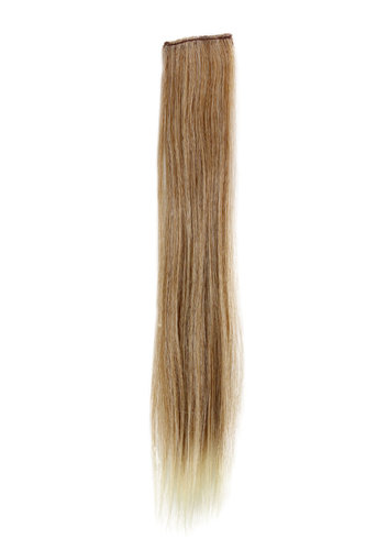 1 x Two Clip Clip-In extension strand straight long strawberry blond streaked bright blond s