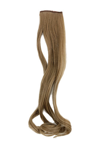 1 x Two Clip Clip-In extension strand curled wavy 3,5 inch wide, 18 inches long dark ash blond