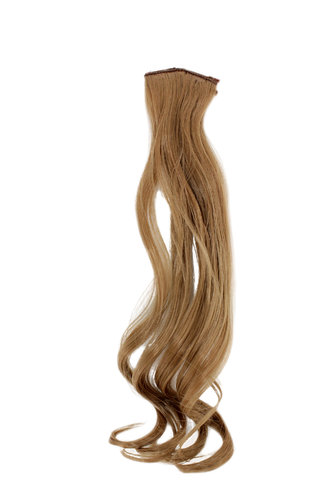 1 x Two Clip Clip-In extension strand highlight curled wavy 3,5 inch wide, 18 inches long blond