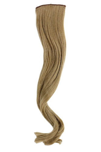 1 x Two Clip Clip-In extension strand curled wavy 3,5 inch wide, 18 inches long light ash blond