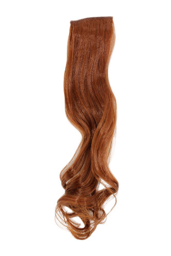 1 x Two Clip Clip-In extension strand curled wavy 3,5 inch wide, 18 inches long light copper brown